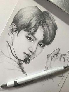 Kpop Drawings, Pencil Art Drawings, Realistic Drawings, Art Drawings Sketches, Disney Drawings, Jungkook Fanart, Kpop Fanart, Bts Jungkook, 3d Sketch