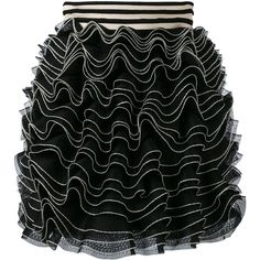 Alexander McQueen Knitted Ruffle Mini Skirt ($1,137) ❤ liked on Polyvore featuring skirts, mini skirts, stripe skirt, white ruffle skirt, short skirts, high waisted skirt and striped mini skirt