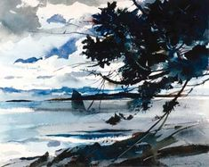 """Andrew Wyeth (born 1917), """"Clouds and Shadow,"""" 1940, Watercolor on paper, 18 x 22 inches, Farnsworth Art Museum"""