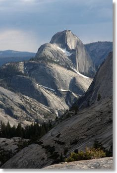 Yosemite Hikes: Tioga Pass Road, Half Dome from Olmstead Point. Like this earth-size woolly mammoth walking ahead of you. The eye can see so far from Olmst pt. It's dizzying