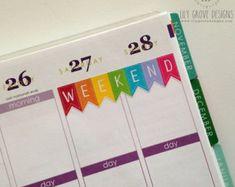 Rainbow Weekend Banner, Set of 18, perfect for Erin Condren Life Planner, Filofax, Plum Planner, Calendar