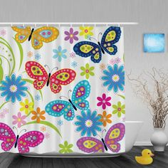 Colorful Cartoon Flower Butterfly Bathroom Shower Curtains Spring Pattern Shower Curtain Waterproof Ployster Fabric With Hooks #Affiliate