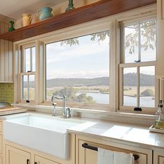 Kitchen Window-Andersen A-Series Double-Hung Window, picture window with side double-hung windows example Window Over Sink, Kitchen Sink Window, Kitchen Decor, Kitchen Windows, Kitchen Faucets, Sink Faucets, Open Window, Farmhouse Windows, Big Kitchen