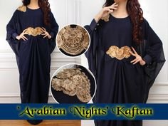 The 'Arabian Nights' Kaftan is a new addition and will be part of our Eid Range...The kaftan is made from a lovely chiffon material which is fully lined. There is an internal belt which you can use to adjust the fitting. Will fit UK 6 to 20. Length 145cm.Please ensure you read the Terms