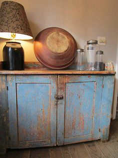 19th-C-Early-Antique-Old-Dry-Sink-Original-Worn-Blue-Paint