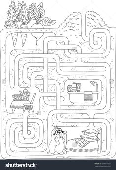 Labyrinth- Maze Level 2 Maze Worksheet, Preschool Worksheets, Preschool Learning Activities, Kids Learning, Coloring Books, Coloring Pages, Mazes For Kids, Hidden Pictures, Activity Sheets