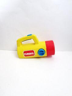 Vintage Yellow 1986 Playskool Flashlight With by TimelessToyBox