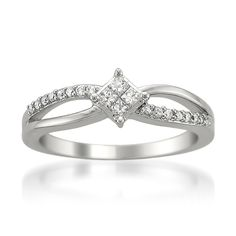 14k White Gold Princess-cut & Round Diamond Composite Engagement Ring (1/4 cttw, I-J, I2-I3)