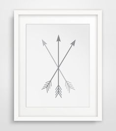 Arrow Art Grey Arrows on White Gray Crossed by MelindaWoodDesigns #arrows #homedecor #printables