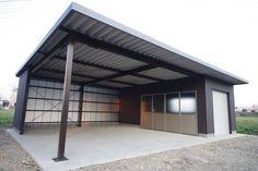 Home Building Design, Metal Building Homes, Building A House, Carport Garage, Garage House, Carport Designs, Garage Design, Shop Buildings, Metal Buildings