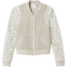 Rebecca Taylor Textured Bomber with Lace (465 CAD) ❤ liked on Polyvore featuring outerwear, jackets, tops, coats, oatmeal, rebecca taylor, textured jacket, lace jacket, lace bomber jacket and flight bomber jacket