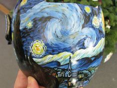 GO Van Gogh with these boring white medical helmets  meant to reshape the skulls of children who were born with Flat Head Syndrome transformed into expressionism.