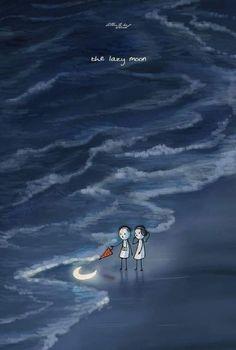 Love Cartoon Couple, Cute Couple Art, Couple Illustration, Illustration Art, Imagination Art, Cute Love Stories, Moon Art, Love Images, Illustrations