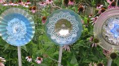 Upcycle vintage dishes as delicate glass garden flowers.
