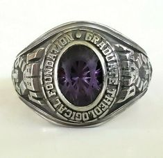1994 Jostens LTM Amethyst Class Ring Size 4.5 Graduate Theological Foundation #Jostens #Class #Graduation Religious Jewelry, Vintage Rings, Class Ring, Foundation, Graduation, Amethyst, Gems, Pendants, Shop