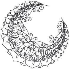 A crescent moon is delicate and beautiful in tiny, radiant patterns. Downloads as a PDF. Use pattern transfer paper to trace design for hand-stitching.