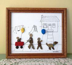 "Framed Original Pebble Art Picture ""A SATURDAY WALK"" by Pat Kleine Children, Wagon, Balloons, Dog"