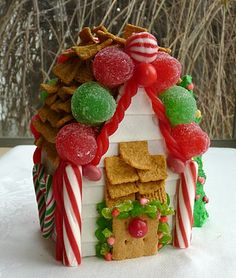 Graham cracker and stick gum gingerbread house.