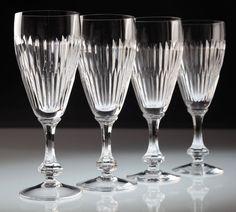 4 Vintage Sektgläser Kristall Gläser Sektglas Linien Schliff Glas