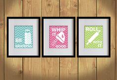 Kitchen Art Print - Chevron, Baking Utensils, Zigzag Stripes - Set of 3 - 8X10 - White, Bondi Blue, Hot Pink, Apple Green - No. KB008-2. $35.00, via Etsy.