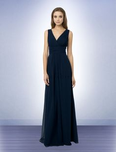 Bill Levkoff #768: Chiffon surplice sleeveless gown with V front and back. Ruched bodice and cummerbund. Skirt is adorned with front and back center pleats.
