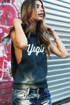 74822d209 Spiritual Gangster Yogini Script Muscle Hoodie - Spruce Live In Style, What To  Wear Today