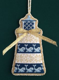 Whale Lighthouse Needlepoint Ornament Stitched by needlepoint.com