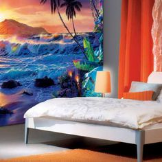 BEACH MURAL IDEAS TO PAINT ON DIVIDER WALL | Awesome-Teenage-and-Unique-Bedroom-Beach-Wall-Mural
