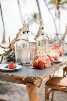 Rustic Beach Table, Driftwood, Lanterns, and Coral Floral