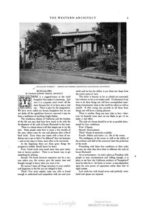 "Charles Greene's article on ""Bungalows"" which appeared in The Western Architect, July 1908. See link for full text."