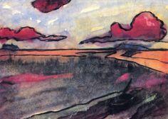 Marsh Landscape Emil Nolde circa 1920 Private collection Painting - watercolor Height: 34 cm in. Emil Nolde, Edvard Munch, Kandinsky, Klimt, Art Moderne, Watercolor Landscape, Painting Inspiration, Illustration Art, Drawings