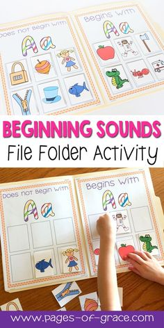 Do your students love hands on activities as much as mine do? Help your kids master beginning sounds with this fun set of file folder games! Children sort picture cards into categories to determine which pictures begin with the given letter and then match File Folder Activities, File Folder Games, Phonics Activities, Alphabet Activities, Language Activities, Hands On Activities, File Folders, Alphabet Phonics, Phonics For Preschool