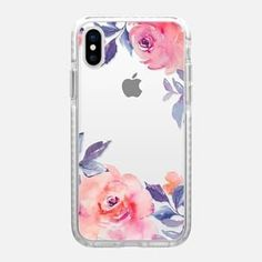 iPhone X Case Cute Watercolor Flowers Purples + Blues #iphonexcase, #iphone10,