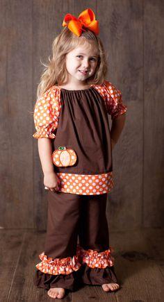CM Brown and Orange Polka Dot Pumpkin Top and Pants Set www.facebook.com/Southerntots