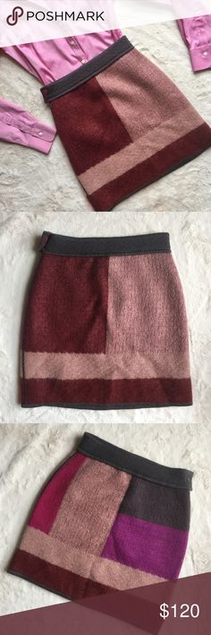"""Missoni Colorblock Mohair Wool Blend Knit Skirt Item: Missoni Colorblock Wool/Mohair Skirt in fuchsia, gray, burgundy & mauve pink, lined with silk blend, side zipper & button tab closure Size: IT 40 - US 4 (fits more like 00/0, see measurements) Condition: Good pre-owned - security tag was cut out but was only tried on, has some small snags on hem and press marks from hanging (see pics)  Measured lying flat: Waist: approx 12"""" Length: approx 17.5"""" Missoni Skirts Mini"""