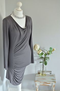 One tiny thread pluck to the back- nothing serious at all. Sarah Pacini, Discount Designer, Gray Dress, Cowl Neck, High Neck Dress, Tunic Tops, Grey, Dresses, Fashion