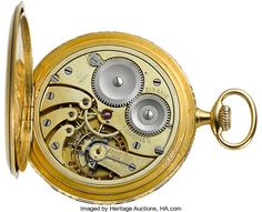 Timepieces:Pocket (post 1900), Longines 18k Gold & Enamel Pocket Watch, circa 1910. ...