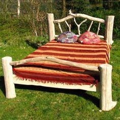 driftwood bed frame, rustic bed, wooden bed frame
