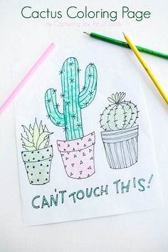 Cactus Coloring Page - free printable to download and use. Kids will love this!