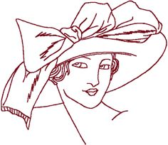 Redwork Flapper #6 Embroidery Design
