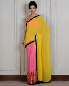 Yellow Pink Panelled Sari