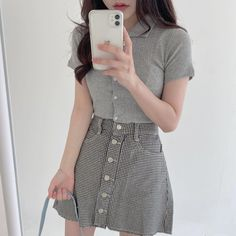 Winter Dress Outfits, Casual Dress Outfits, Casual Summer Dresses, Stylish Outfits, Kpop Fashion Outfits, Korean Outfits, Korean Ootd, Korean Girl Fashion, Asian Fashion
