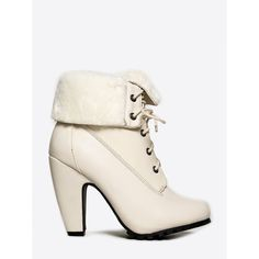 MOZZA-26 BOOTIE ($43) ❤ liked on Polyvore featuring shoes, boots, ankle booties, white, ankle boots, fold over ankle boots, bootie boots, white lace up boots and lace up bootie