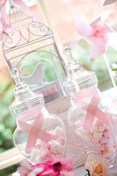 The ribbon around the jars reminds me of Breast Cancer Ribbons  Tangled + Enchanted Garden Birthday Princess Party - Kara's Party Ideas