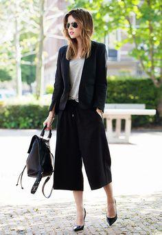 Calça Culotte Com Terno Preto