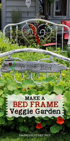 Turn an old metal bed frame into a spectacular veggie garden! It's easy to do and looks fabulous + whimsical all in one. Garden Art, Garden Design, Herb Garden, Landscape Design, Making A Bed Frame, Old Bed Frames, Home Vegetable Garden, Veggie Gardens, Fruit Garden