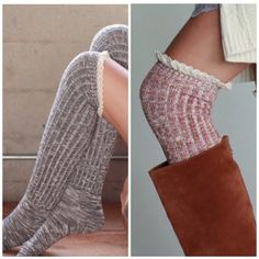 Over the knee socks Multi color over the knee boot socks great for a touch of sweetness with ️LACE detail . Also available in natural and gray listed in my closet . Blanket scarf available for $28 in beige combo in my closet too Vivacouture Accessories Hosiery & Socks