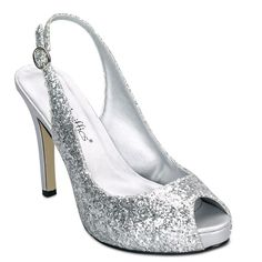 Coloriffics - Gala - 5844      Silver Glitter Sling Back with Wrapped Platform. Heel: 3 1/4. Mtrl: Manmade.  $52.00