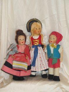 Lot 3 Vintage All Original Dolls, Baitz Liechtenstein, Pr Lenci Style Boy & Girl