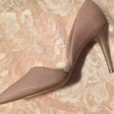 Red Saks Fifth Avenue Taupe Elisa Pumps Taupe Elisa pumps are approx. 2 1/2 in. high, very chic, and elegant. They are brand new, never worn and are a size 7.5.  They look like they are made of an ostrich skin like leather and are beautiful! Red Saks Fifth Avenue  Shoes Heels